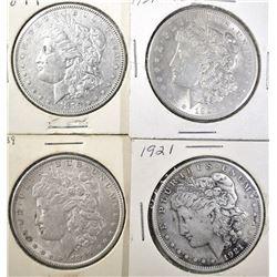 1879, 1889 AU, 1921 VF+ & 21 CH BU MORGAN DOLLARS