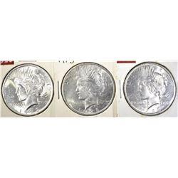 3-1923 PEACE DOLLARS, CH BU++ NICE