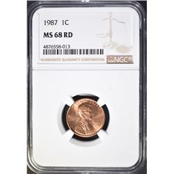1987 LINCOLN CENT, NGC MS-68 RED