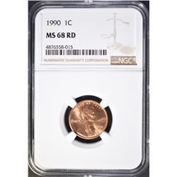 1990 LINCOLN CENT, NGC MS-68 RED