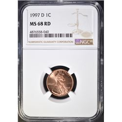 1997-D LINCOLN CENT, NGC MS-68 RED