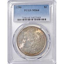 1886 MORGAN DOLLAR PCGS  MS-64  COLOR