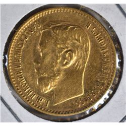 1897 RUSSIA GOLD 5 RUBLES
