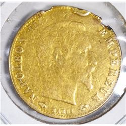 1860 GOLD 5 FRANCS RIM DAMAGE