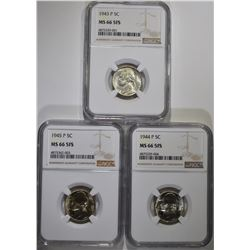 1943-P, 44-P, 45-P JEFFERSON NICKELS, NGC MS-66 FS