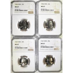 2-1966 & 2-1967 SMS WASHINGTON QUARTERS, NGC MS-67