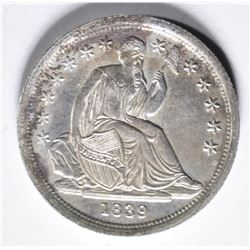 1839 SEATED DIME  NO DRAPORY  AU/BU