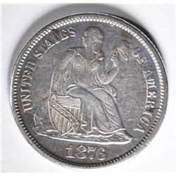 1876-CC SEATED DIME  AU