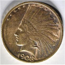 1908-D $10 GOLD  NO MOTTO  CH BU