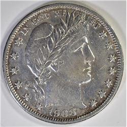 1908-O BARBER HALF DOLLAR  AU+