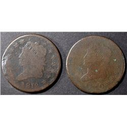 1810 & 1812 LARGE CENTS, AG/G