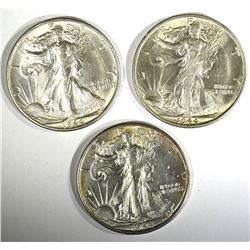 3-CH BU 1944-S WALKING LIBERTY HALVES
