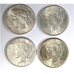 1922, 22-D, 23-S & 25 CIRC PEACE DOLLARS