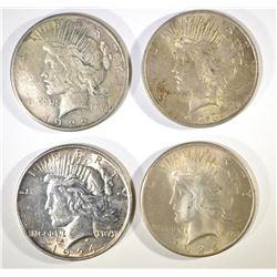 1922-S, 23, 24 & 25 CIRC PEACE DOLLARS