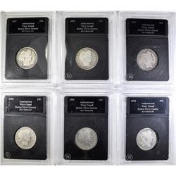 LOT OF 6-BARBER QUARTERS IN PLASTIC HOLDERS