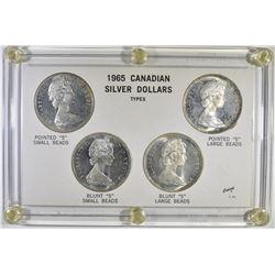 4-CH BU 1965  CANADIAN SILVER DOLLAR SET