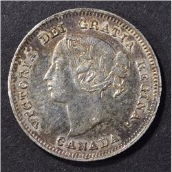 1891 CANADA  5-CENT SILVER AU/BU RARE