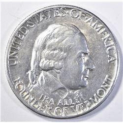 1927 VERMONT COMMEM HALF DOLLAR, CH BU+