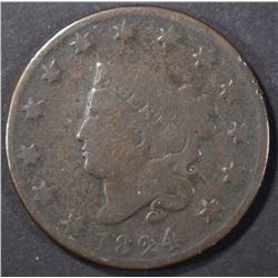 1824 LARGE CENT, G/VG