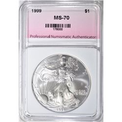 1999 AMERICAN SILVER EAGLE, PNA PERFECT GEM BU
