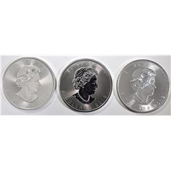 3-GEM BU 2019 CANADA 1oz SILVER MAPLE LEAF COINS