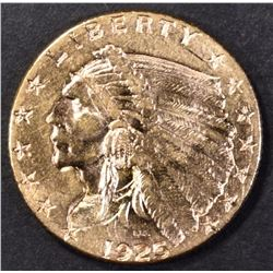 1925-D $2.50 GOLD INDIAN, CH BU