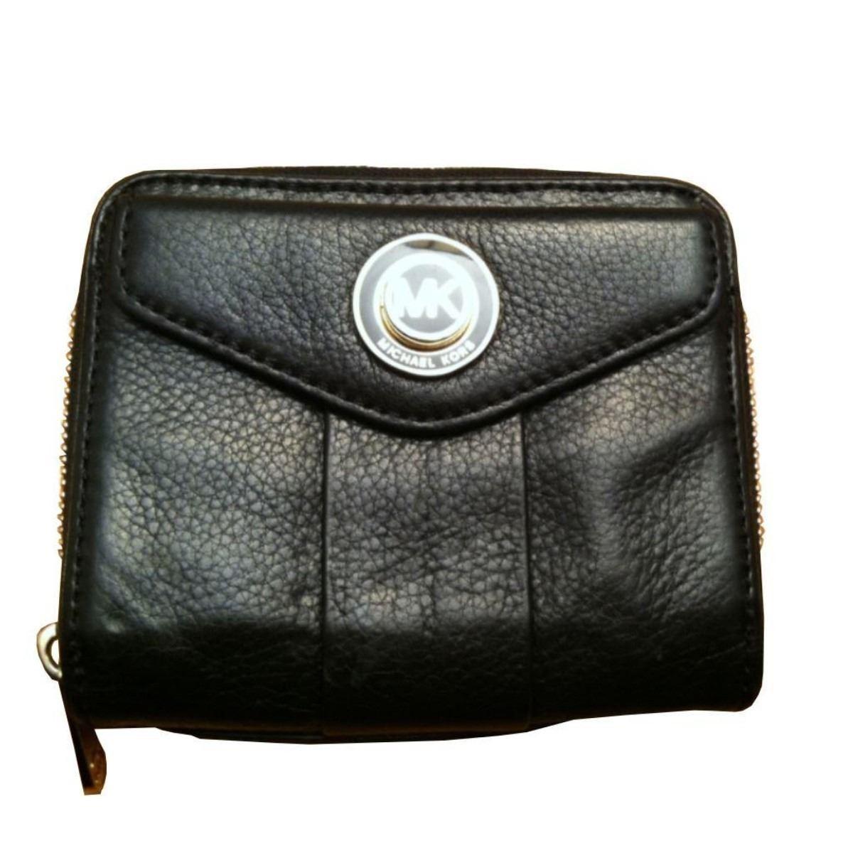 22fe41823678e8 Image 1 : Michael Kors Bi-fold Black Leather Wallet ...
