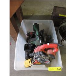 Tote Containing Sander, Drill, Saw & More