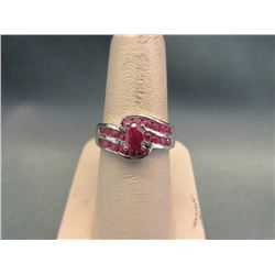 Sterling Silver Multi Red Ruby Cocktail Ring
