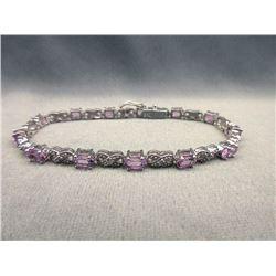 Amethyst & Diamond Tennis Bracelet