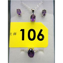 New Matching 3 Piece Amethyst Sterling Silver Set