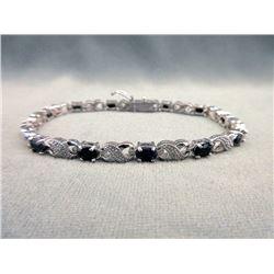 7.8 CT Sapphire & Diamond Infinity Bracelet