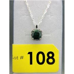 2.8 CT Square Emerald & Diamond Pendant