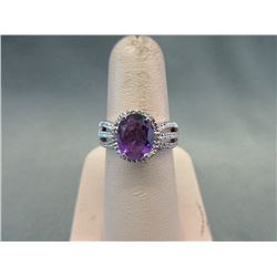 Sterling Silver Amethyst & Diamond Cocktail Ring