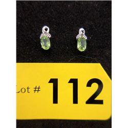 New Sterling Silver Peridot & Diamond Earrings