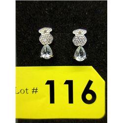 New Sterling Silver Aquamarine & Diamond Earrings
