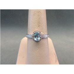 Sterling Silver Baby Blue Topaz & Diamond Ring