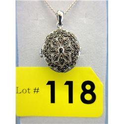 Ladies Black Diamond Oval Locket Necklace