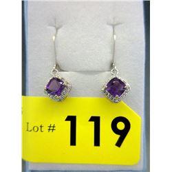 New Princess Cut Amethyst & Diamond Earrings