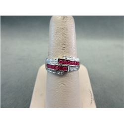 Sterling Silver Ruby & Diamond Cocktail Ring