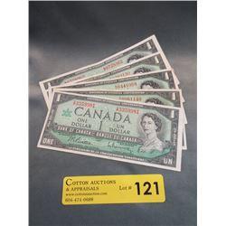 5 Old Canadian Centennial Dollar Bills