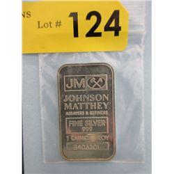 1 Oz. .999 Fine Silver Johnson Matthey Bar
