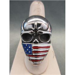 Large Heavy Men's Skull/Flag Biker Ring