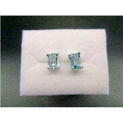 New Sterling Silver Baby Blue Topaz Earrings