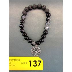 Crystal & Lava Stone Tree of Life Bracelet