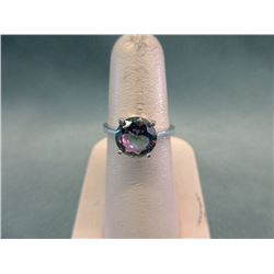 Large Round Mystic Topaz Solitaire Ring