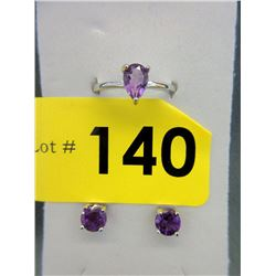 New Matching Amethyst Ring & Earrings