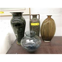 3 Art Glass & 1 Pottery Vase