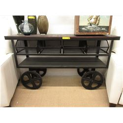 New Wood Top Rolling Metal Console Table