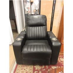 Black Leather Pushback Power Recliner